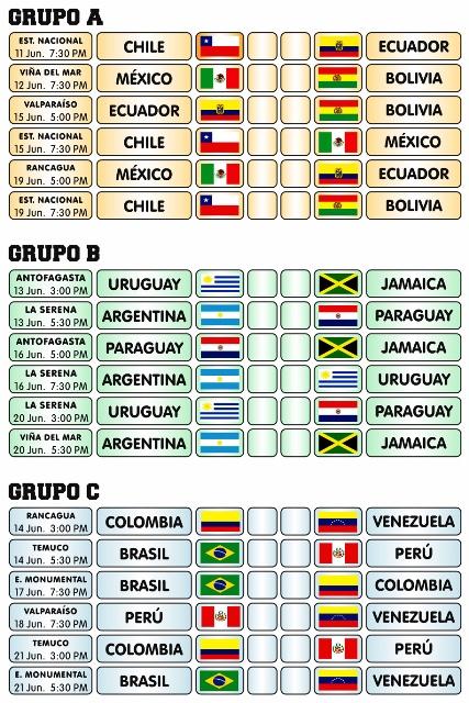 Calendario Copa.Calendario Copa America Chile 2015 Diario El Huemul